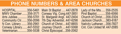 PHONE NUMBERS & area churches